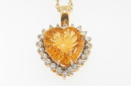 Contemporary Citrine & Diamond Fine Leaf Design Heart Necklace in 14k Yellow Gold