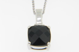 Contemporary Square Black Onyx & Diamond Necklace in 14k White Gold