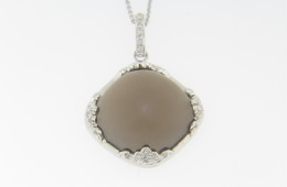 Contemporary Cabochon Smokey Quartz & Diamond Necklace in 14k White Gold