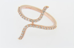 Contemporary 0.33ct Diamond Split Band Twist Design Ring in 14k Rose Gold Size 6.75