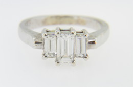 Contemporary Emerald Cut Diamond Engagement Ring in 14k White Gold Size 6