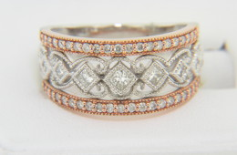 Contemporary Two Tone Princess & Round Cut Diamond Band Ring in 14k Rose & White Gold Size 7