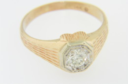 Vintage Very Fine 0.42ct Solitaire Round Diamond Band Ring in 14k Yellow Gold Size 10.75
