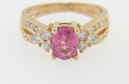 Vintage 1.34ctw Fine Oval Pink Sapphire & Diamond Ring in 14k Yellow Gold Size 5.5