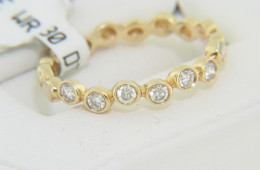 Contemporary 0.30ctw Round Diamond Bubble Band Ring in 14k Yellow Gold Size 7