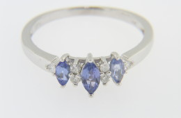 Vintage Marquise Tanzanite & Round Diamond Band Ring in 14k White Gold Size 9.25