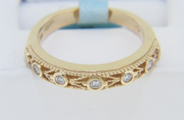 Contemporary Round Diamond Fine Open Design Band Ring in 14k Yellow Gold Size 6.75