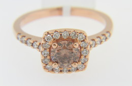 Contemporary 1.08ctw Round Champagne Diamond Engagement Ring With Halo in 14k Rose Gold Size 7