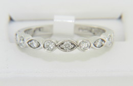 Contemporary 0.33ctw Diamond Round & Oval Pattern Ring in 14k White Gold Size 6.75