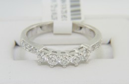 Vintage 0.60ctw Round Diamond Curve Design Band Ring in 14k White Gold Size 6.5