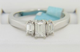 Modern 0.69ctw Emerald Cut Diamond Engagement Ring in 14k White Gold Size 6.5