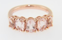 Contemporary Very Fine Oval Pink Morganite Five Stone Ring in 14k Rose Gold Size 7
