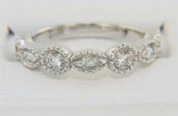 Fine Round & Marquise Diamond Beaded Edge Band Ring in 14k White Gold Size 7