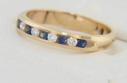 Contemporary 0.38ctw Round Sapphire & Diamond Band Ring in 14k Yellow Gold Size 8