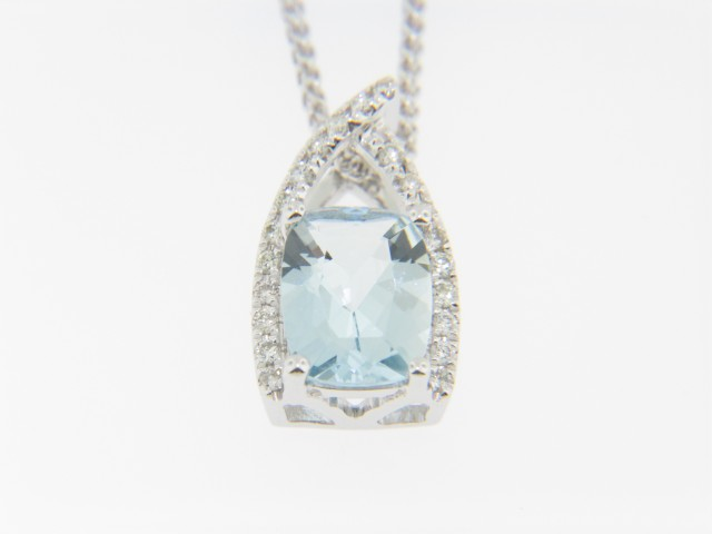 Contemporary Cushion Cut Aquamarine & Diamond Pendant Necklace in 14k White Gold