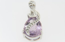 Contemporary Pear Cut Pink Amethyst & Diamond Whimsical Pendant in 14k White Gold