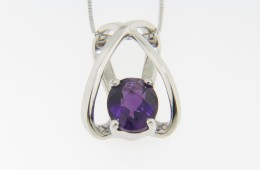 "Contemporary Oval Amethyst Open Design ""X"" Pendant Necklace in 14k White Gold"