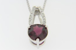 Contemporary 2.81ctw Rhodolite Garnet & Diamond Pendant Necklace in 14k White Gold