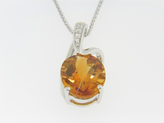 Contemporary 1.0ctw Oval Citrine & Diamond Pendant Necklace in 14k White Gold