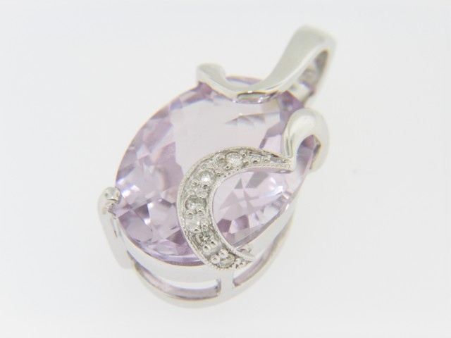 Contemporary Fine 8.94ctw Oval Pink Amethyst & Diamond Pendant in 14k White Gold