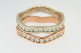 Contemporary Two Tone Round Diamond Wave Band Ring in 14k Rose & White Gold Size 7