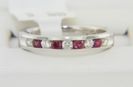 Contemporary Round Diamond & Ruby Band Ring in 14k White Gold Size 6