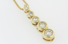 Contemporary 0.78ctw Round Diamond 5 Tier Pendant Necklace in 14k Yellow Gold