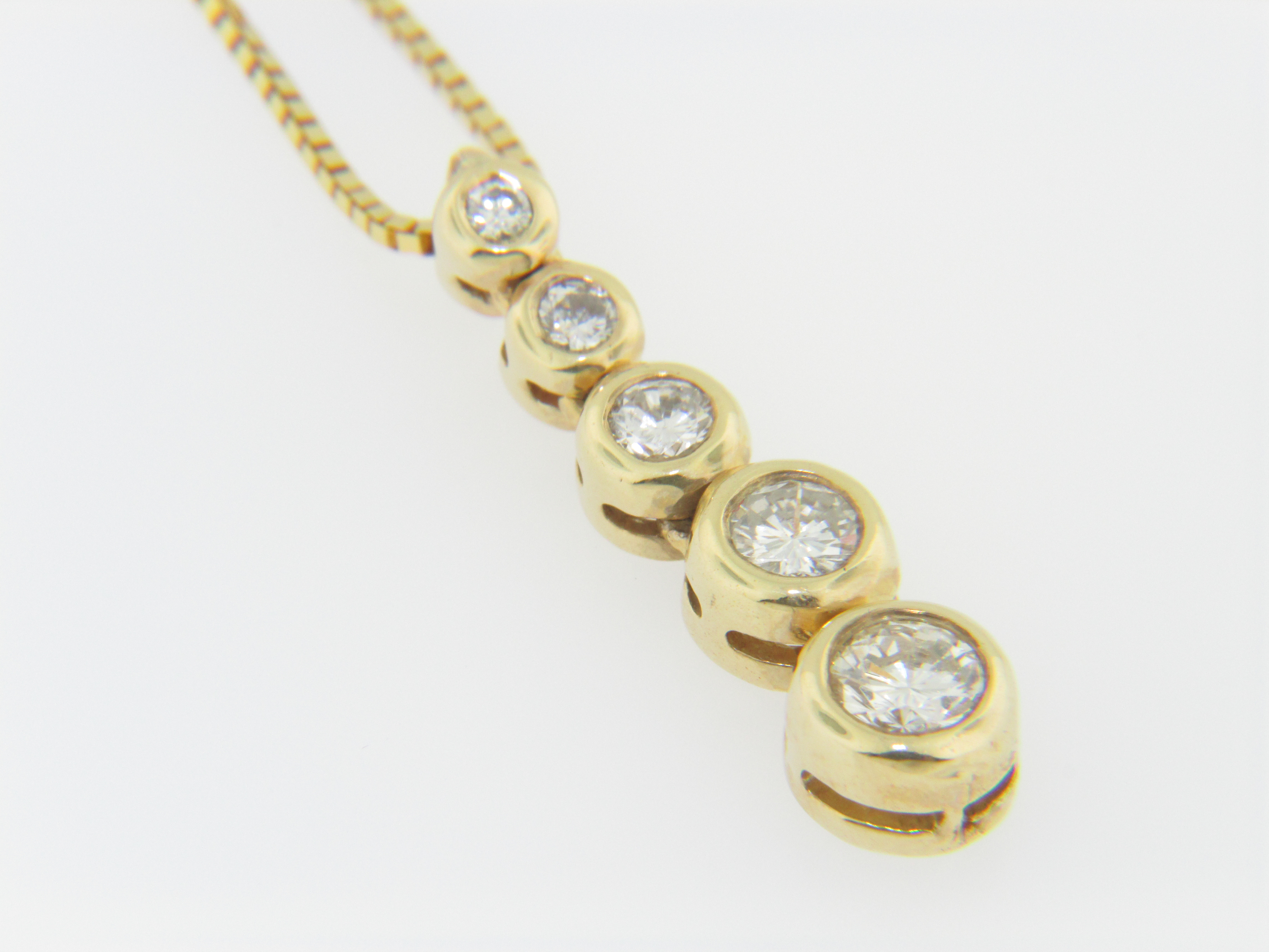 Contemporary 078ctw round diamond 5 tier pendant necklace in 14k this is a contemporary 078ctw round diamond 5 tier pendant necklace in 14k yellow gold the necklace as a whole weighs 52 grams aloadofball Gallery