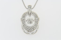 Contemporary 0.24ctw Round Dancing Diamond Pendant Necklace in 14k White Gold