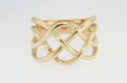 Contemporary Open Woven Puzzle Design Wide Band Ring in 14k Yellow Gold Size 7
