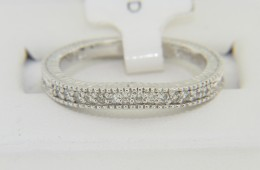Contemporary 0.16ctw Round Diamond Fine Curved Band Ring in 14k White Gold Size 6.5