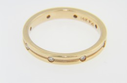 Contemporary 0.15ctw Round Diamond Very Fine Band Ring in 14k Yellow Gold Size 6.75