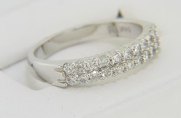 Contemporary 0.75ctw Round Diamond Two Row Band Ring in 14k White Gold Size 7