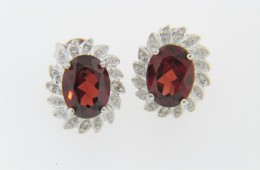 Contemporary Very Fine Oval Garnet & Diamond Stud Earrings in .925 Sterling Silver