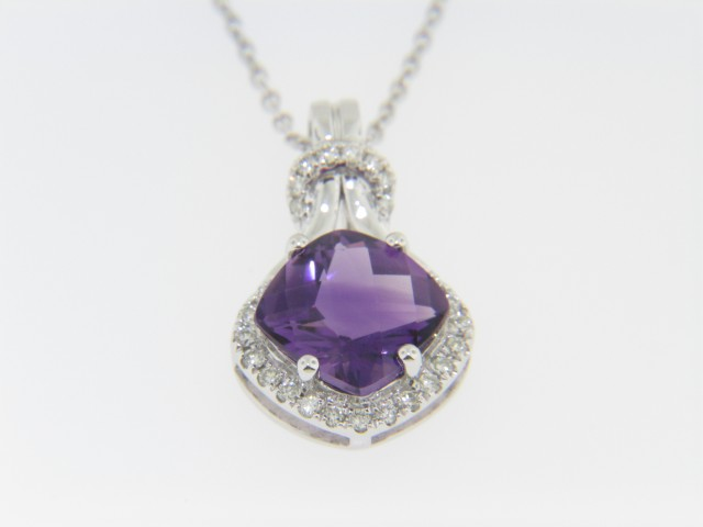 Contemporary 2.55ctw Cushion Amethyst & Diamond Pendant Necklace in 14k White Gold