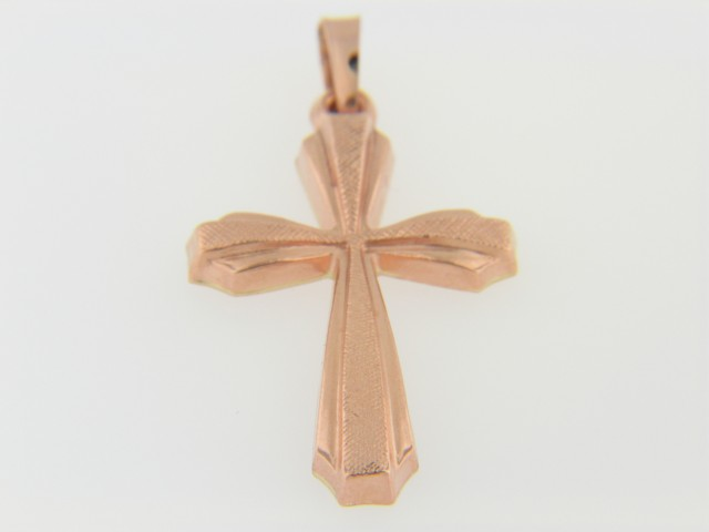 Contemporary Cross Pendant in 14k Rose Gold Very Fine Textured Detail