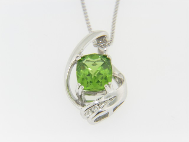 Contemporary Cushion Cut Peridot & Diamond Pendant Necklace in 14k White Gold