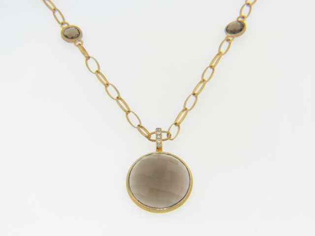 Contemporary 12.11ctw Round Smokey Quartz & Diamond Necklace in 18k Yellow Gold