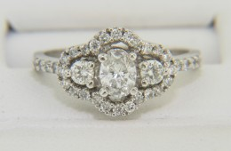Very Fine 0.87ctw Oval & Round Diamond Engagement Ring in 14k White Gold Size 6.5