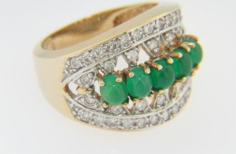 Vintage Very Fine Oval Cabochon Emerald & Diamond Ring in 14k Yellow Gold Size 7.5