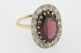 Vintage Oval Garnet & Diamond Ring in Platinum & 14k Yellow Gold Size 5