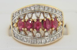 Vintage Oval Ruby & Diamond Open Design Ring in 14k Yellow Gold Size 8