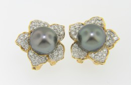Timeless 8.75mm South Sea Pearl & Diamond Flower Stud Earrings in 18k Yellow Gold