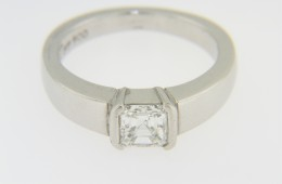 Timeless 0.70ct Solitaire Asscher Cut Diamond Engagement Ring in Platinum Size 5.75