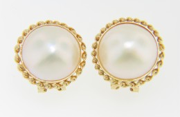 Timeless 14.75mm Malbe Pearl Fine Twist Design Stud Earrings in 14k Yellow Gold