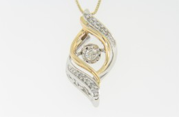 Contemporary Two Tone Dancing Diamond Wave Design Pendant Necklace in 14k Yellow & White Gold