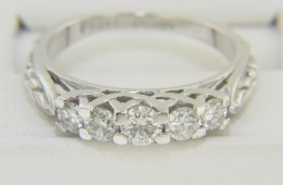 0.73ctw Round Diamond Engraved Floral Design Engagement Ring Platinum Size 6.75
