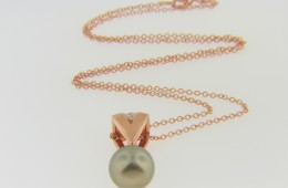 Contemporary 9.75mm Chocolate Pearl & Diamond Pendant Necklace in 14k Rose Gold