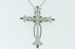 Very Fine 0.12ctw Black & White Diamond Cross Pendant Necklace in 14k White Gold