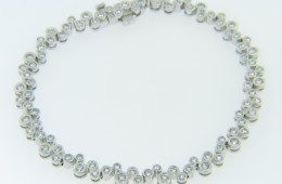 Contemporary 2.0ctw Round Diamond Bubble Design Tennis Bracelet in 14k White Gold